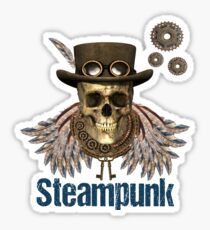 Steampunk Skeleton with Hat, Feathered Wings, Gears and Keys Sticker