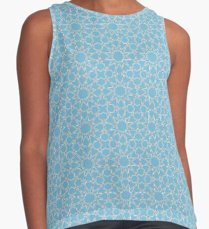 Islamic Geometric pattern 002 Blue Background Sleeveless Top