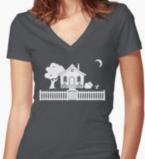 Cottage w/ Picket Fence (White design w/ moon) Women's Fitted V-Neck T-Shirt