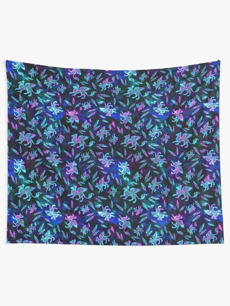 Alternate view of Gryphon Batik - Jewel Tones Tapestry