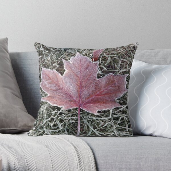 Frosted autumn leaf Throw Pillow