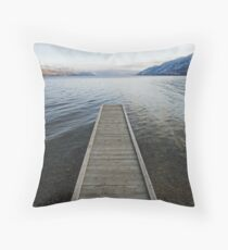 pier, Okanagan Lake, British Columbia Throw Pillow