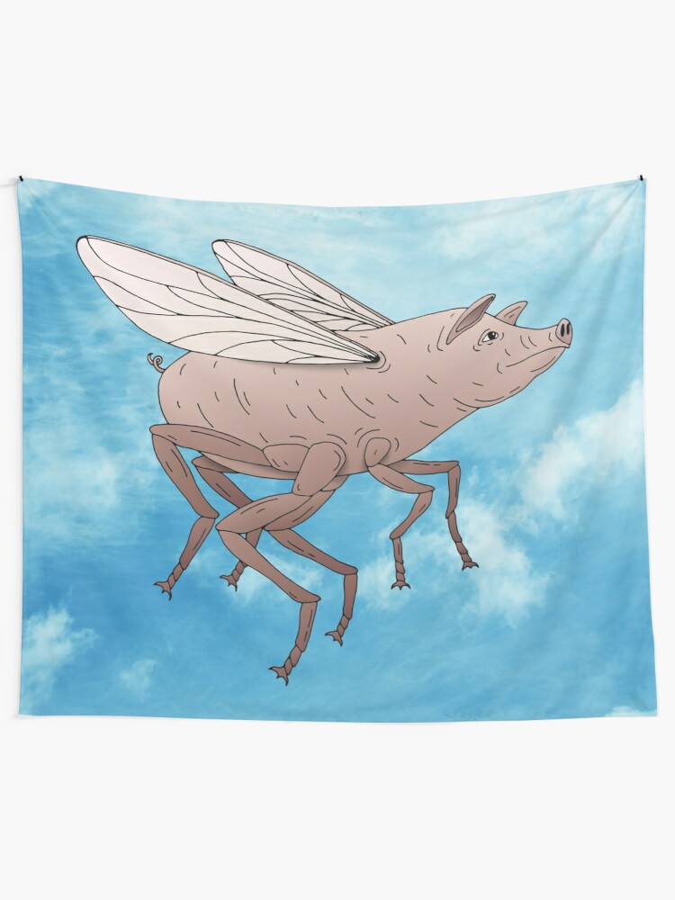 Alternate view of Pig Fly Tapestry