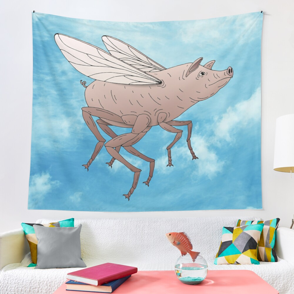 Pig Fly Tapestry