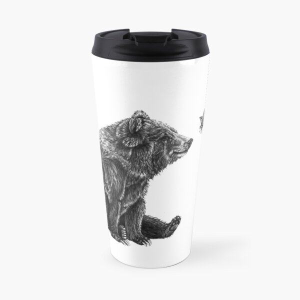 Bear and Butterfly Pencil Drawing Travel Mug