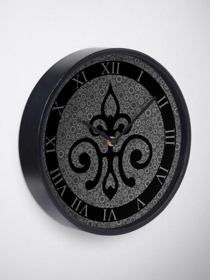 Alternate view of Clockwork Flur de Lis - Black and Grey Clock