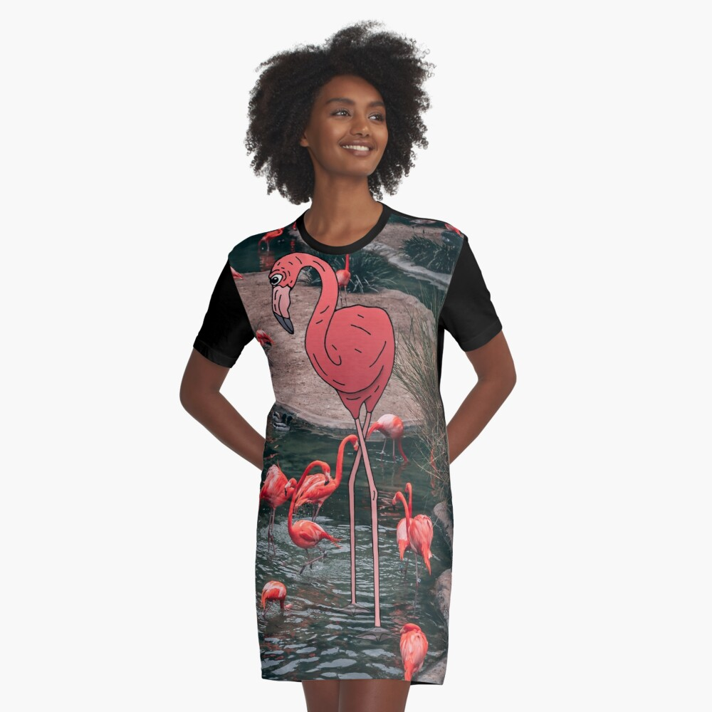 Flamingo Graphic T-Shirt Dress
