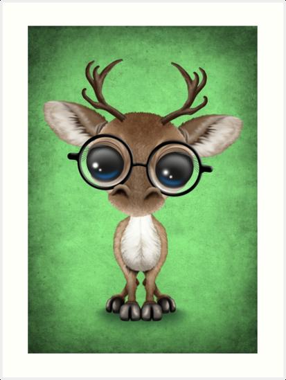 Cute Curious Nerdy Reindeer Wearing Glasses Green by jeff bartels