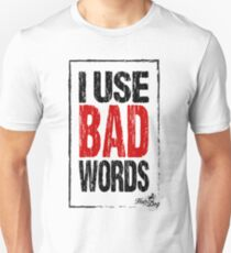 Bad Words on white Slim Fit T-Shirt