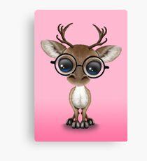 Cute Curious Nerdy Reindeer Wearing Glasses Pink Canvas Print