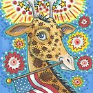 4TH OF JULY, PATRIOTIC GIRAFFE by Susan Brack