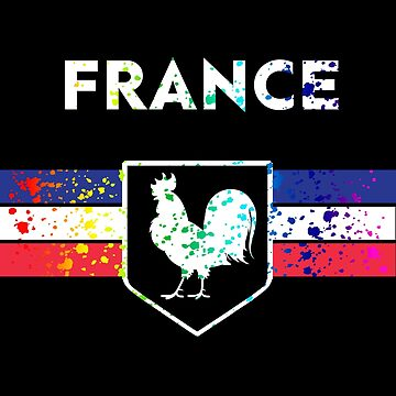 France Soccer Jersey Shirt Paint Splatter Rooster Distressed by 7United