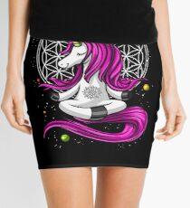 Unicorn Buddha Zen Yoga Flower Of Life Space Sacred Geometry Mini Skirt