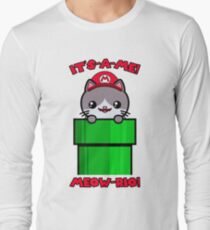 Cat Cute Funny Kawaii Mario Parody Long Sleeve T-Shirt