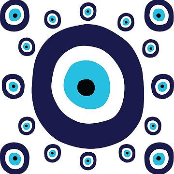 Navy Blue and Aqua Nazar Evil Eye Lucky Charm Pattern by HotHibiscus