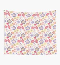 floral pattern pink yellow and purple Wall Tapestry