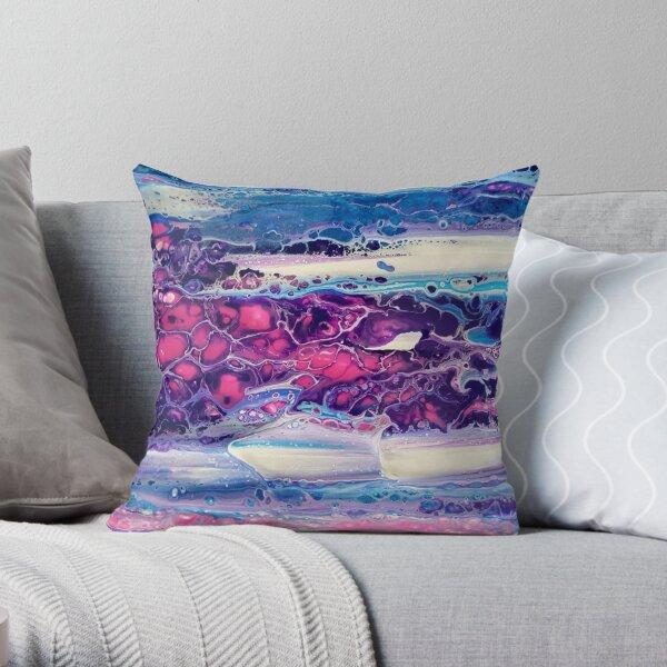 Peinture originale rose & violet Coussin