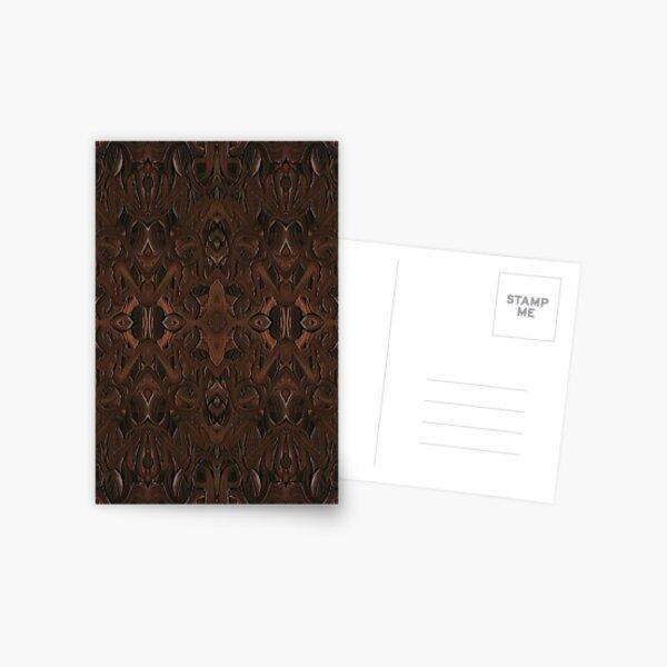 Carved Walnut Wood Postcard