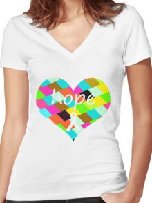Colorful Hope Heart Women's Fitted V-Neck T-Shirt