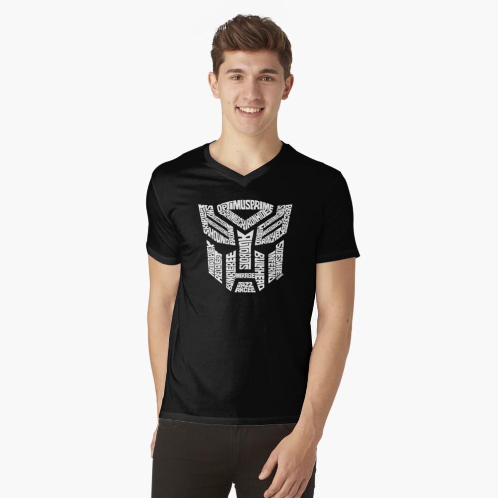 Transformer Autobots White V-Neck T-Shirt