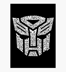Transformer Autobots White Photographic Print