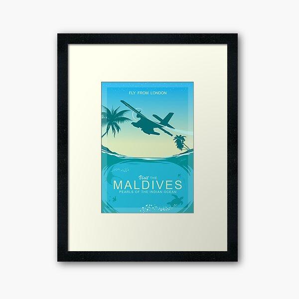 Affiche Retro Travel: Visitez les Maldives - Perles de l'océan Indien Impression encadrée