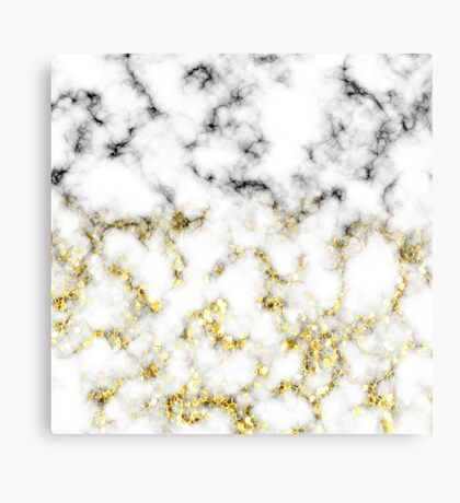 Black and white marble gold sparkle flakes Metal Print