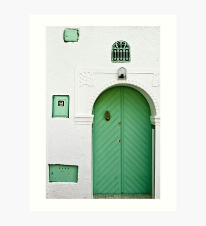 Green Door, White Wall Art Print