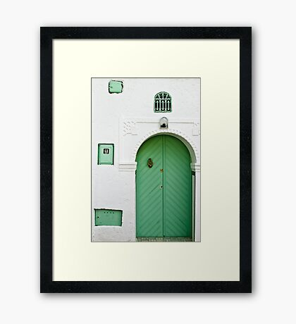 Green Door, White Wall Framed Print