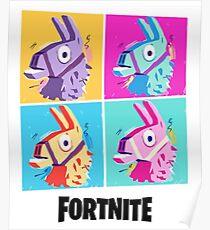 Fortnite Battle Royale Four Llamas Pop Art Shirt Poster