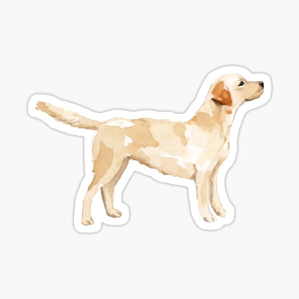 Yellow Lab Silhouette Watercolor Sticker