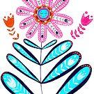Happy Smiling Flower, Gypsy Collection, Folk Art by Amanda Gatton