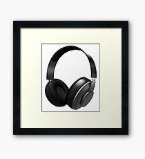 Black headphones Framed Print
