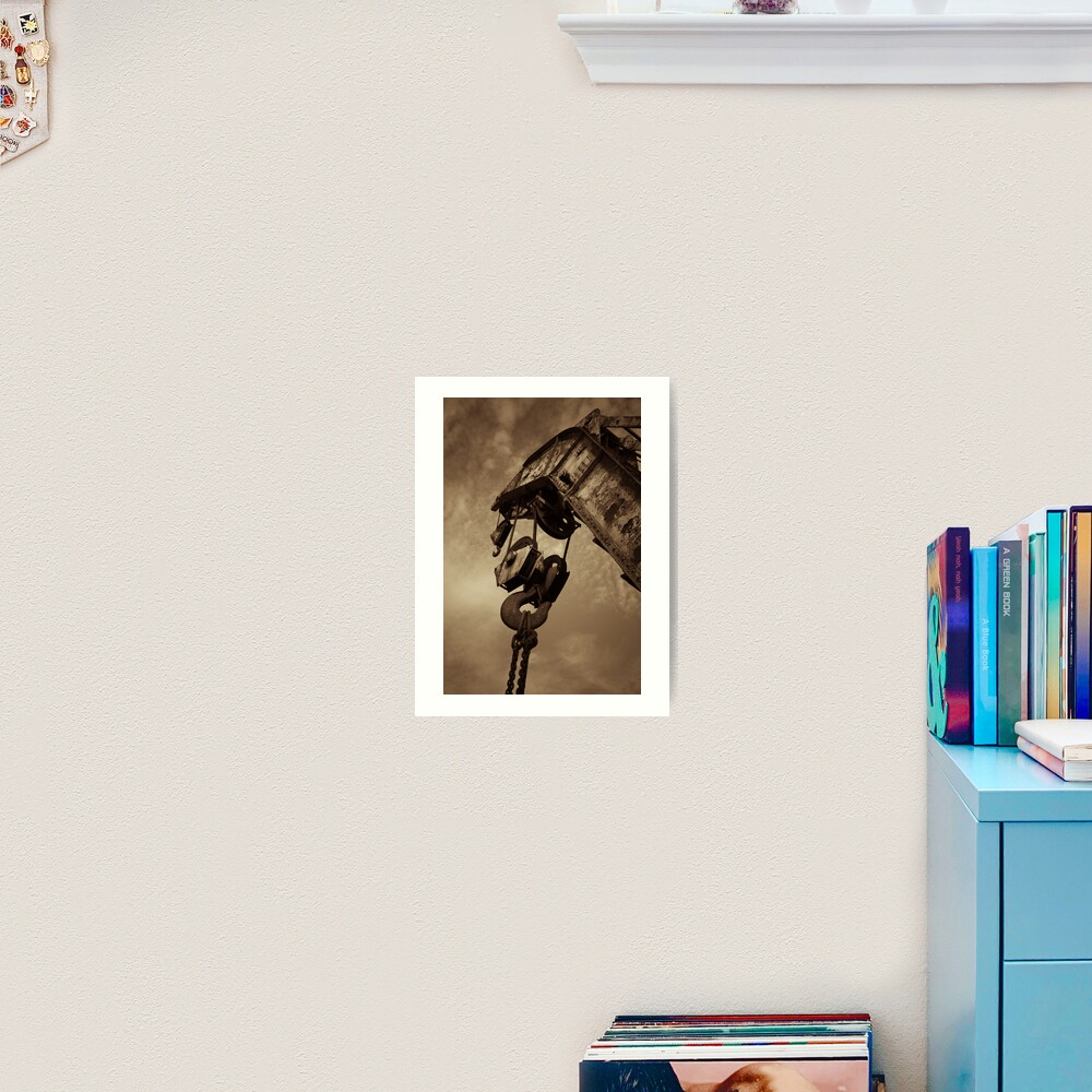 Retired crane - sepia Art Print