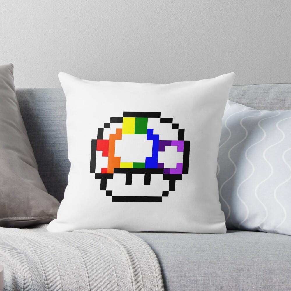 Mushroom Rainbow Pixel Art Throw Pillow