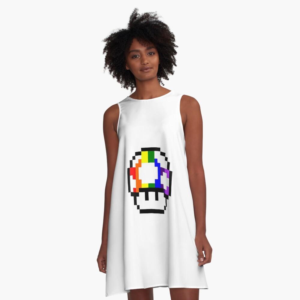 Mushroom Rainbow Pixel Art A Line Dress