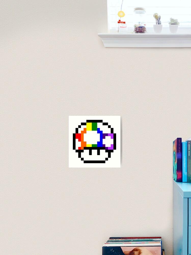 Mushroom Rainbow Pixel Art Art Print
