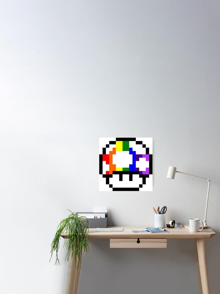 Mushroom Rainbow Pixel Art Poster