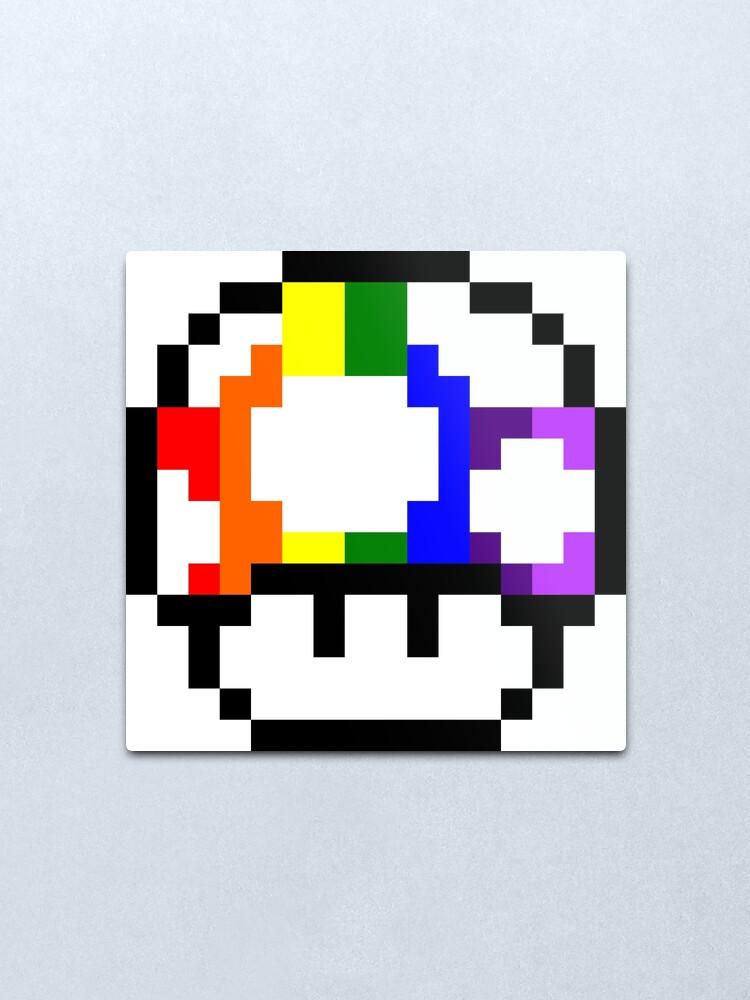 Mushroom Rainbow Pixel Art Metal Print By Crampsy Redbubble