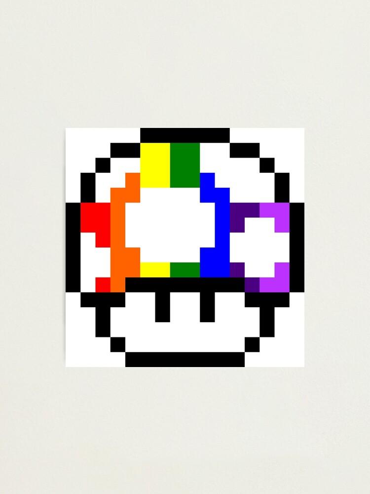 Impression Photo Art De Pixel D Arc En Ciel De Champignon Par Crampsy Redbubble