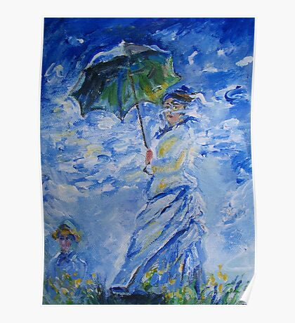 Woman With Parasol painting Poster