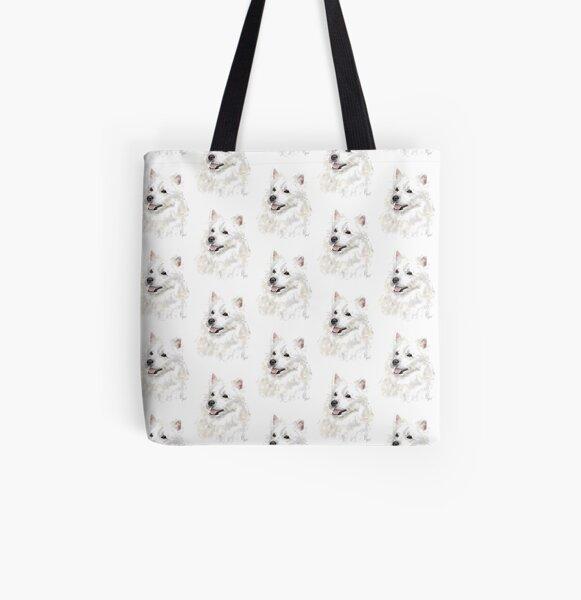 Smiling American Eskimo Eskie Pooch  All Over Print Tote Bag