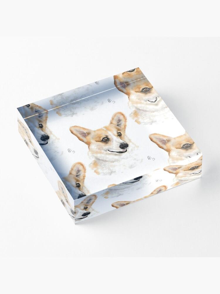 Alternate view of Sweet Happy Smiling Corgi  Acrylic Block