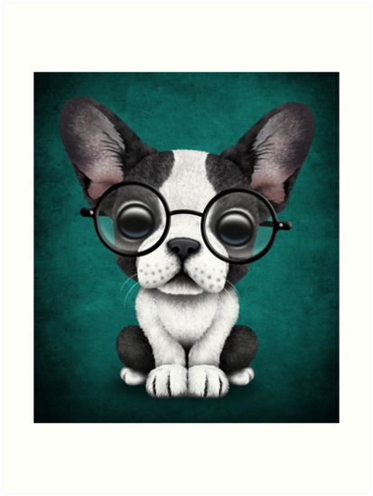 Cute French Bulldog Puppy with Glasses, Teal Blue by jeff bartels