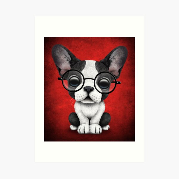 Dog Wearing Glasses Art Prints Redbubble