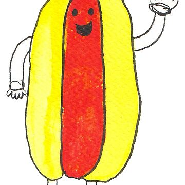 Cute Kawaii Cartoon Hot Dog by ValeriesGallery