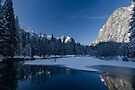 Winter Freeze Looking Down River From Swing Bridge by photosbyflood