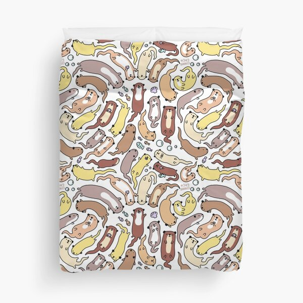 Adorable Otter Swirl Duvet Cover