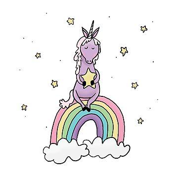 Over the Rainbow Unicorn - White Background by pigandpumpkin