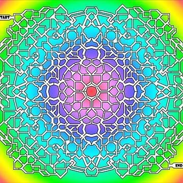 Rainbow Colored, Circular Maze & Labyrinth by gorff